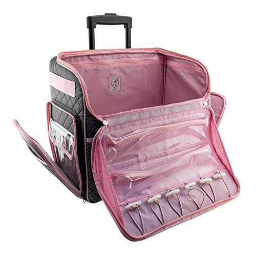 Everything Mary Deluxe Rolling Tote, Gray with Pink Trim