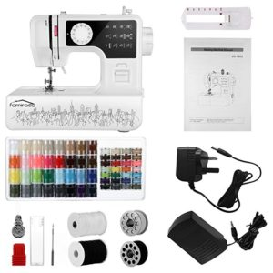 Sewing Machine, Famirosa JG-1602 Portable Small Starter Sewing Machines for Beginners Crafters Kids Girls, 2 Speed with 12 Stitches
