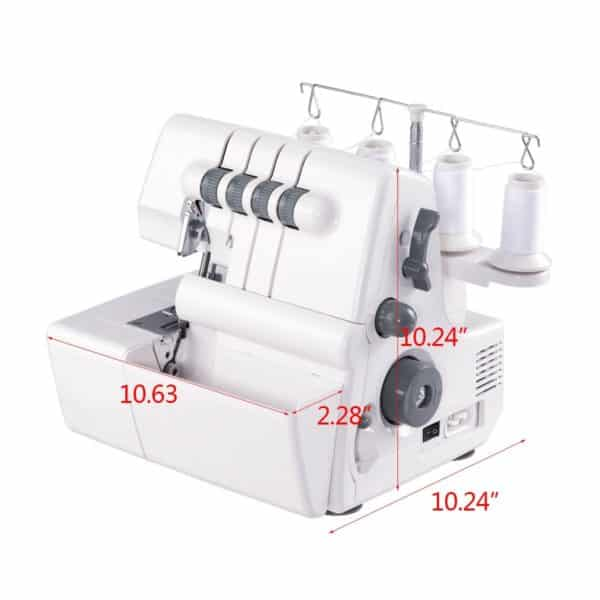 COSTWAY Portable Serger Sewing Machine 2 Needle 4 Thread Capability Serger Overlock With Differential Feed
