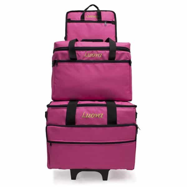 "Luova 19"" 3 Piece Rolling Sewing Machine Trolley Set in Pink"