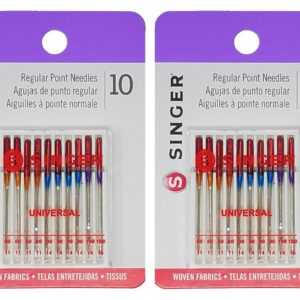 Singer 10-Pack Regular Point Machine Needles Assorted, 4 Size 80/11, 4 Size 90/14 and 2 Size 100/16 (2)