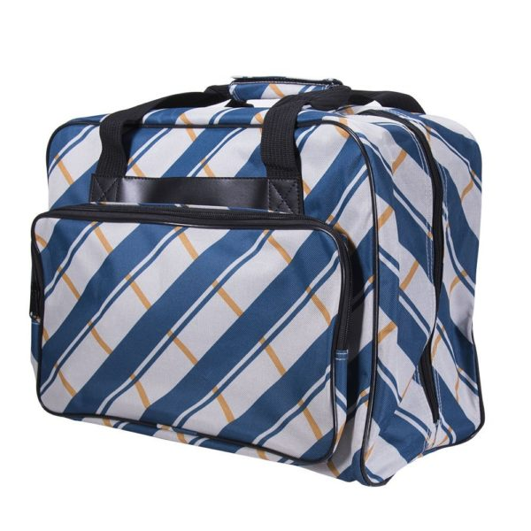 Janome Blue Plaid Universal Sewing Machine Tote Bag, Canvas