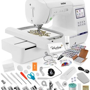 Brother SE1900 Sewing and Embroidery Machine + Grand Slam Package Includes 64 Embroidery Threads + Prewound Bobbins + Cap Hoop + Sock Hoop + Stabilizer + 15,000 Designs + Scissors ($1,170 Value)