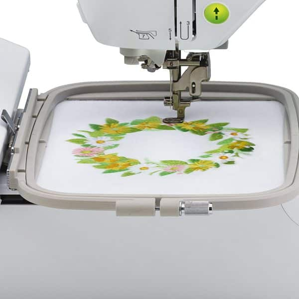 "Brother PE800 5""x7"" Embroidery-only machine with color touch LCD display, USB port, 11 lettering fonts, and 138 built-in designs"