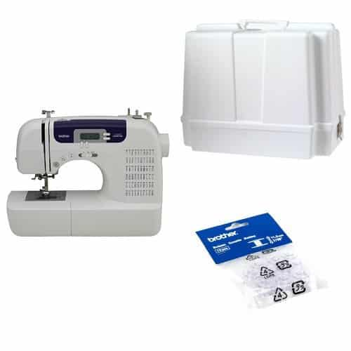 Brother CS6000i Feature-Rich Sewing Machine and Brother SA156 Top Load Bobbins, pack of 10