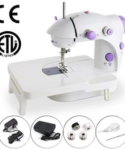 Mini Portable Sewing Machine Double Speed Control Double Thread Needle Electric Household Automatic Sewing Machine with Foot Pedal and Extension Table