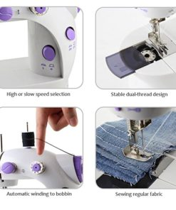 HAITRAL Portable Sewing Machine Adjustable 2-Speed Double Thread Electric Crafting Mending Machine with Foot Pedal