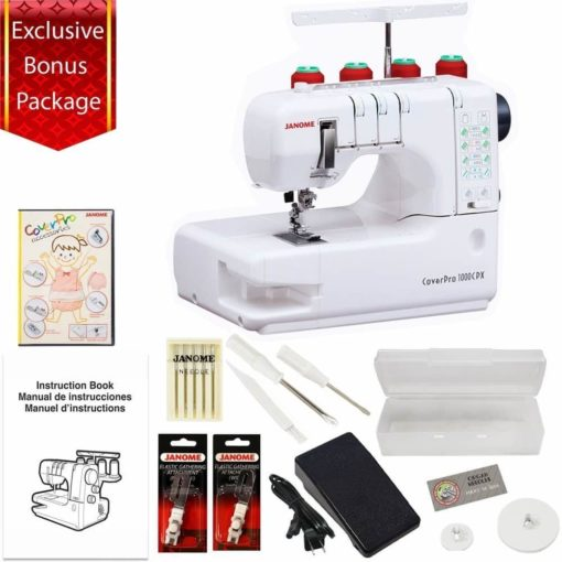 Janome Cover Pro 1000CPX Cover Stitch Machine with 3-Piece Accessories