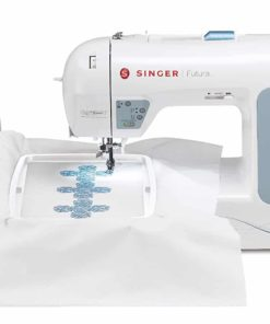 SINGER Futura XL400 Portable Sewing and125 Embroidery Design Machine including 30 BuiltIn Stitches, Fully BuiltIn 2step Buttonhole,Drop Feed Free Motion,6 Statybright Led Lights,sewing all fabrics