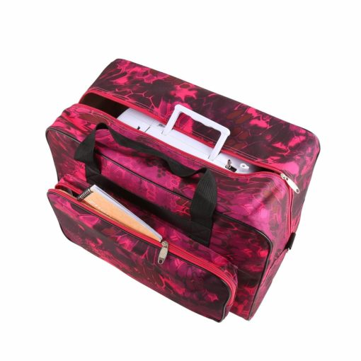 Sewing Machine Tote Bag Waterproof Carrying Bag Padded Storage Case with Pockets and Handles (US Stock) (Style2 - Red)
