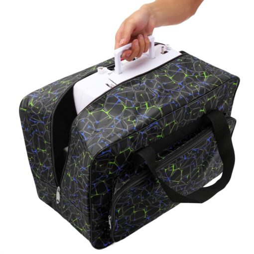 Sewing Machine Tote Bag Waterproof Carrying Bag Padded Storage Case with Pockets and Handles (US Stock) (Black)