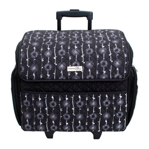 Everything Mary Deluxe Rolling Sewing Tote - Black and Floral