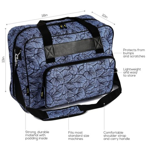 Kenley Sewing Machine Tote Bag - Padded Storage Cover Carrying Case with Pockets and Handles - Universal Fit 18x10x13 inches for Janome Brother Singer - Midnight Flowers