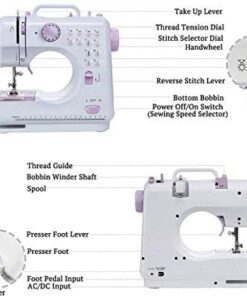 Biunixin Electric Sewing Machine, Household Hand-held Tailor Electric Sewing Machine with 12 Floral Stitches(US) - 3